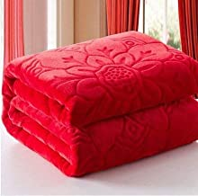 PICKFULLY Ultra Soft Luxurious Embossed Very Warm Korean Mink Blanket Double Bed for Winter - RED (85 x 100 Inches)