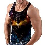 Rave on Friday Herren 3D Wolf Druck Tank Top Sommer Gym Sport Tanktops Ärmellos T-Shirts Weste Muscle-Shirt Achselshirts M