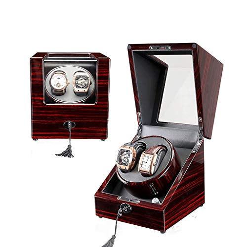 Uhrenbox Doppelter hölzerner Uhrenbeweger mit leisem Motor, batteriebetriebenem oder Wechselstrom-Adapter Klavier-Ende Reines handgemachtes hölzernes for Frauen-Uhren und Uhren-Männer (Color : C005)