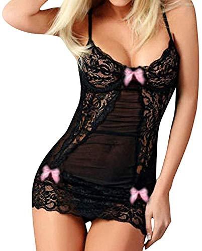 Lencería Sexy para San Valentín,Lencería Sexy para Mujer Ropa De Dormir De Malla De Encaje Negro con Nudo De Lazo Ahuecado Ropa Interior Babydoll Transparente Vestido Camisero Transparente Body