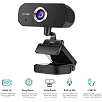 Thdufge 1080P HD Webcam with Microphone for Mac Xbox YouTube Skype OBS,Video Calling Conferencing,Online Class,Sony Sensor