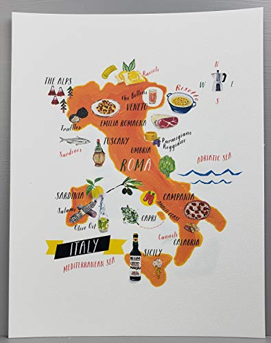 Nancy Nikko Italian Food Map, Food Regions of Italy, 8 1/2 x 11