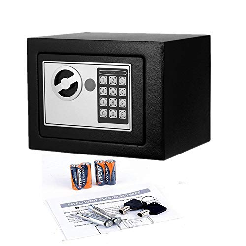 Digital Electronic Security Safe Box Fireproof Wall-Anchoring Safe Deposit Box for Money Jewelry Cash Batteries - US Stock (Black)