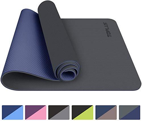 TOPLUS, tappetino da yoga, classico Pro Yoga Mat TPE Eco Friendly antiscivolo Fitness con cinghia di trasporto, tappetino da allenamento per yoga, pilates e ginnastica, 183 x 61 x 0,6 cm (grigio)