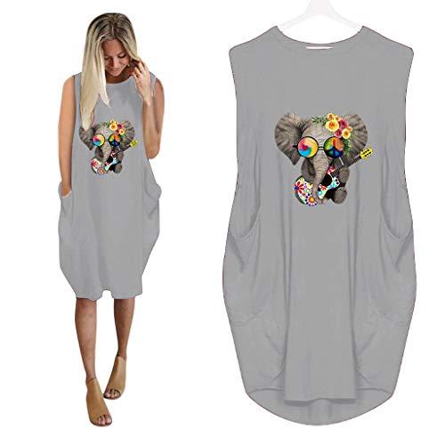Posional Vestido Punto Sin Mangas Mini Minivestido De Corte Tubo Ajustado LáPiz Sweater De Punto SuéTer Vestido De Gran TamañO Suelto Elefante Bolsillo Pullover Elegantes Vestidos