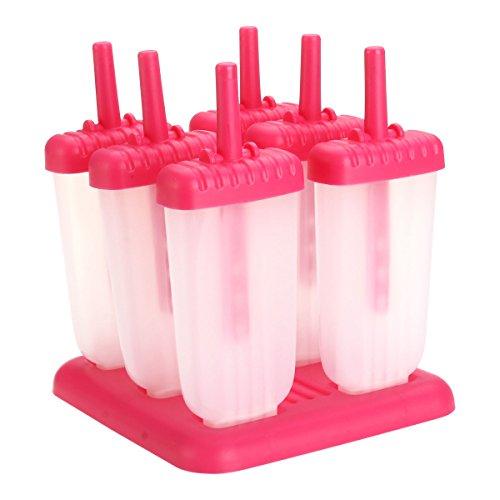 OUNONA Eisformen Stieleisformer Eislutscher Formen Reusable DIY Frozen Ice Cream Pop Molds Ice Lolly Makers Mit Trichter zum BEF¨¹llen Selbstmach EIS am Stie 6pcs (Rosy)