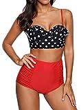 Vintage High Waist Bikini Set Strappy Push Up Retro Polka Dot Red Swimsuit PTRB5