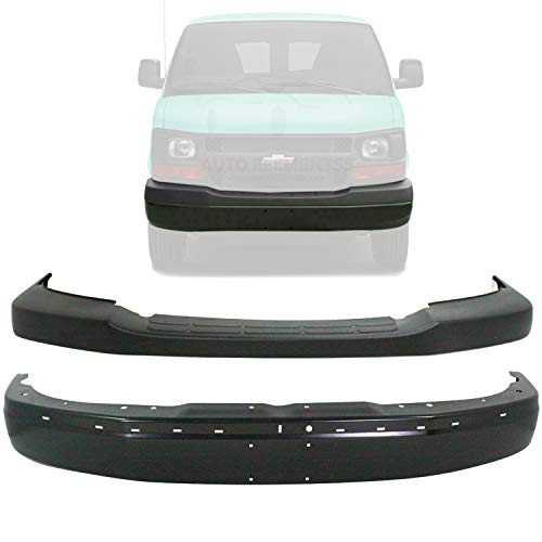 New Front Bumper Face Bar Black With License Plate Holes + Upper Cover Textured Plastic For 2003-2017 Chevrolet Express/GMC Savanna Cargo Van Direct Replacement