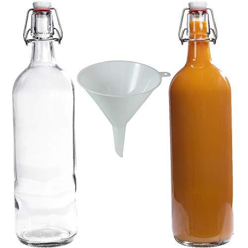 Viva Haushaltswaren - 2 x Glasflasche 1000 ml mit Bügelverschluss aus Porzellan zum Befüllen, als Milchflasche und Saftflasche verwendbar (inkl. Trichter Ø 12 cm)