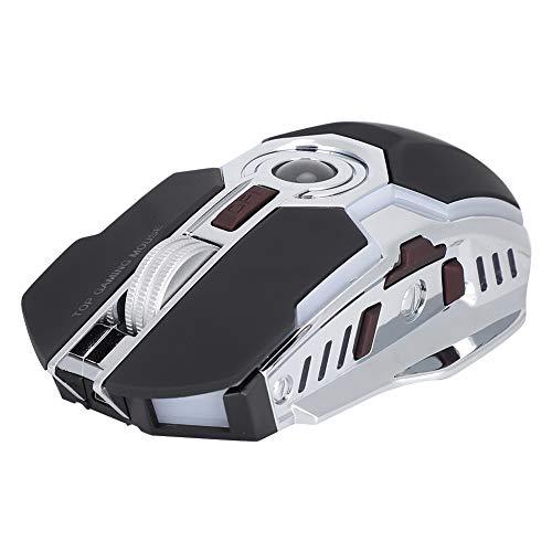 Ratón Inalámbrico Juegos 2.4Ghz 1600DPI Ratón Inalámbrico óptico USB Silencioso, Computadora Portátil de Escritorio Ratones Receptor USB Diseños Ergonómicos Computadoras Accesorios para PC(Negro)