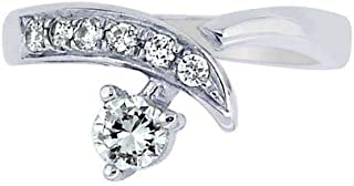 Sterling Silver With Rhodium Finish Shiny By Pass Type Toe Ring With Cubic Zirconia