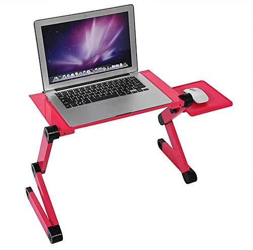 Verstelbare laptopstandaard, draagbaar bed Laptop Tafelstandaard met muismat, Ergonomische Home Office Lap Bureau, Aluminium, rood