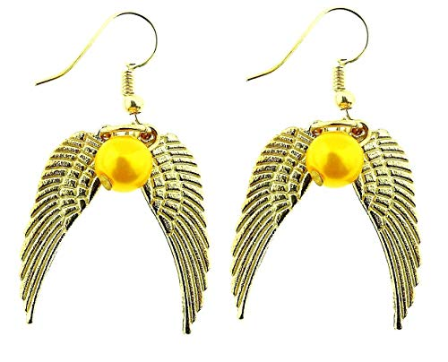 Pendientes con colgantes de alas y perla amarilla color dorado joya idea regalo fiesta mujer