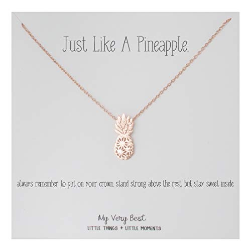 My Very Best Dainty Pineapple Necklace Just Like a Pineapple, Always Remember to Put on Your Crown, Stand Strong Above The Rest, but Stay Sweet Inside. (Rose Gold Plated Brass)