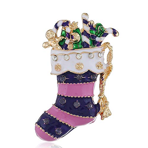 YRFZ Broschen & Anstecknadeln In Bijouterie Für Damen Damenbrosche Für Damen Damenbroschesimple Premium Purple Christmas Stockings Alloy Brooch