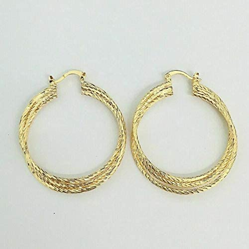 Stunning New Yellow Gold Plated Textured Triple Twist 1.5'' Round Hoop Earrings