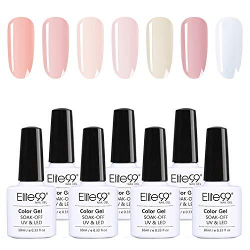 Elite99 French Nudefarbe UV Nagellack Set 10ML, weißer Gellack French Nude Gel Polish Kit Soak Off, French Nägel Design Maniküre Set 7 Stück