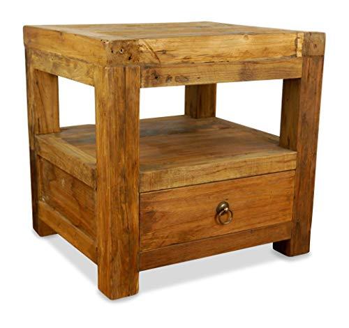 livasia Java Nachtschrank aus Teakholz | Asiatischer Beistelltisch aus Massivholz | Kommode der Marke Asia Wohnstudio (Handarbeit)