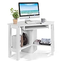 Tangkula Corner Desk, Corner Computer Desk, Wood Compact Home Office Desk, Laptop PC Table Writing Study Table, Workstation with Smooth Keyboard Tray & Storage Shelves (Not 90 Degrees)