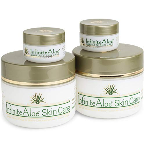 InfiniteAloe Complete Skin Care, Organic Aloe Face And Body Cream, Natural Moisturizer For Dry Skin. Packaging Design May Vary. (2) 8oz + (2) 0.5oz