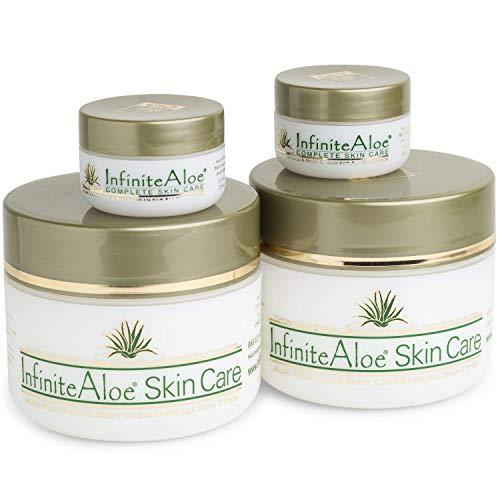 InfiniteAloe Complete Skin Care, Organic Aloe Face and Body Cream, Natural Moisturizer for Dry Skin (2) 8oz + (2) 0.5oz