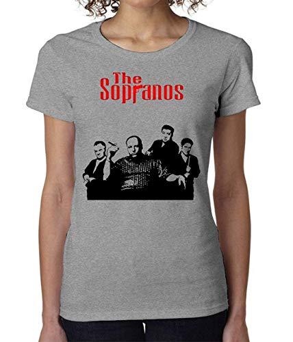 The Sopranos Gandolfini Poster Women's T-Shirt Damen Tshirt Short Sleeve Medium