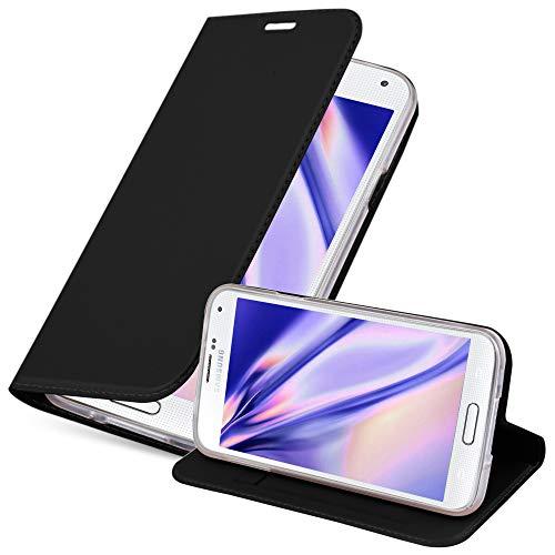 Cadorabo Funda Libro para Samsung Galaxy S5 / S5 Neo en Classy Negro - Cubierta Proteccíon con Cierre Magnético, Tarjetero y Función de Suporte - Etui Case Cover Carcasa