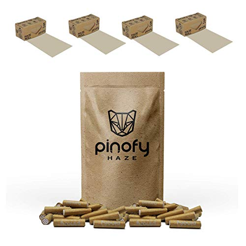 PINOFY Aktivkohle Set [4 Rolls + 120 Filter] Papers mit Filter - Endless Roll Papers + Aktivkohlefilter Slim 6mm - für Selbst dreher - 120 Active Tips + 4 Rolling Paper - Raw Papes und Tips Kohleaktiv