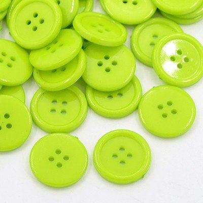 SiAura Material - 20 bottoni rotondi in acrilico da 20 mm, plastica, colorati, verde senape, 4 fori, per cucito, fai da te e decorazioni