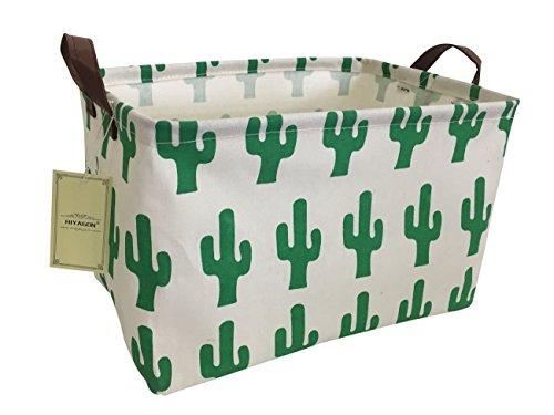 HIYAGON Rectangular Storage Box Basket for Baby, Kids or Pets - Fabric Collapsible Storage Bin for Organizing Toys,Nursery Basket,Clothing,Books, Gift Baskets (Cactus)