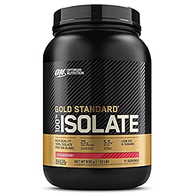 Optimum Nutrition Gold Standard 100 Percent Isolate Whey Protein Powder with BCAAs and Glutamine, Strawberry, 31 Servings, 930 g