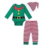 iiniim 3 pcs Pelele + Pantalones + Gorro Disfraces Duende Navidad Bebé Niño...