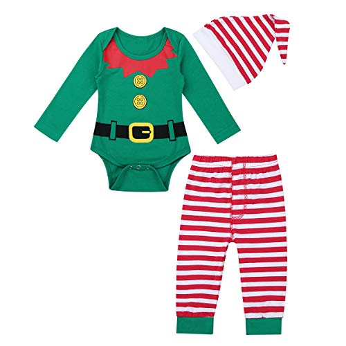 Oyolan Baby Boys Girls Christmas Outfits Xmas Elf Costumes Santa Claus Long Sleeves Romper Shirts with Striped Leggings Set Green A 0-3 Months