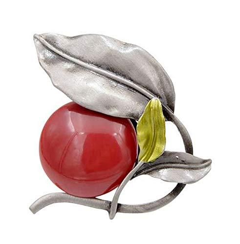 Broche van staal, bloemenstijl, rode plant en blad.