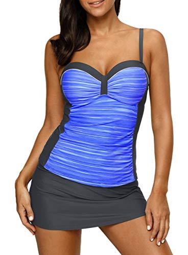 Aleumdr Damen Badeanzug Tankini Bedruckt mit Offenem Rücken verstellbaren Trägern und Slip unter dem Rock Hellblau Schwarz M