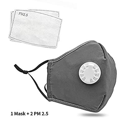Safety Dust Mask with 2 PM 2.5 Filters, Easy Breathe Reusable Washable Face Mask, Thin fabric for Summer Use (Grey)