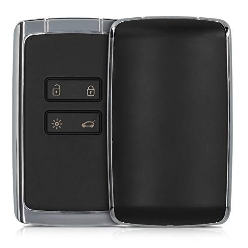 kwmobile Autoschlüssel Gehäuse kompatibel mit Renault 4-Tasten Smartkey Autoschlüssel - ohne Transponder Batterien Elektronik - Auto Schlüsselgehäuse - Schwarz