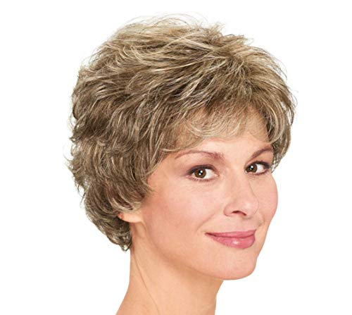 Short Brown Mixed Blonde Highlights Wave Pixie Cut Bob Wigs with Bangs Natural Fluffy Curly Human Hair for Women Ladies Daily Use