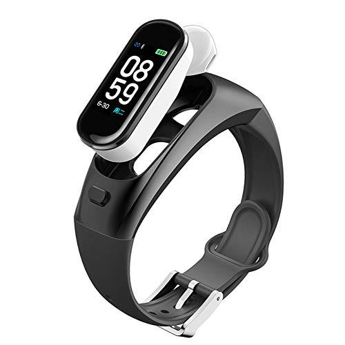 KELEQI Fitness Smart Armband Bluetooth Headset, 0,96 Zoll, Blutdruck-Herzfrequenz-Schlafmonitor, Blutsauerstoffmonitor, Sport-Schrittzähler,Schwarz