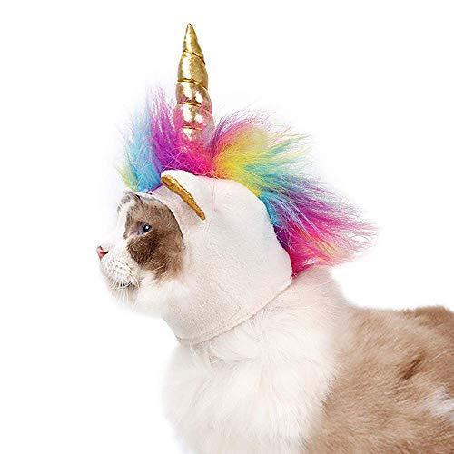 Ynredee Unicorno Costume Cane Cappello per Gatti e Cani di Piccola Taglia, Pet Cappello a Forma di Unicorno Decorativo Copricapo Halloween Party Supplies