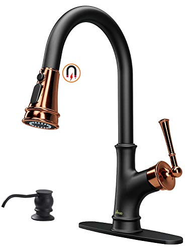 APPASO Matte Black and Rose Gold Pull Down Kitchen Faucet with Magnetic Docking Sprayer - Single Handle High Arc One Hole Pull Out Kitchen Sink Faucet with Soap Dispenser
