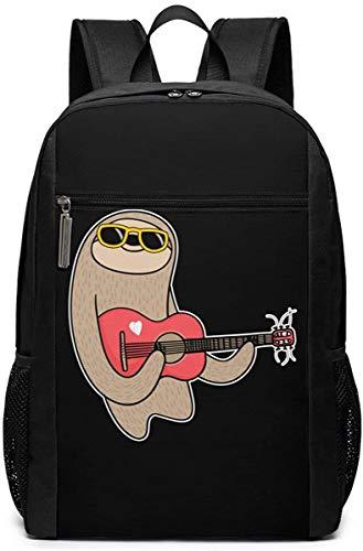Dinosaur Travel Laptop Bag Lightweight Bookbag Computer Business Backpacks-Sloth Playing the Guitar
