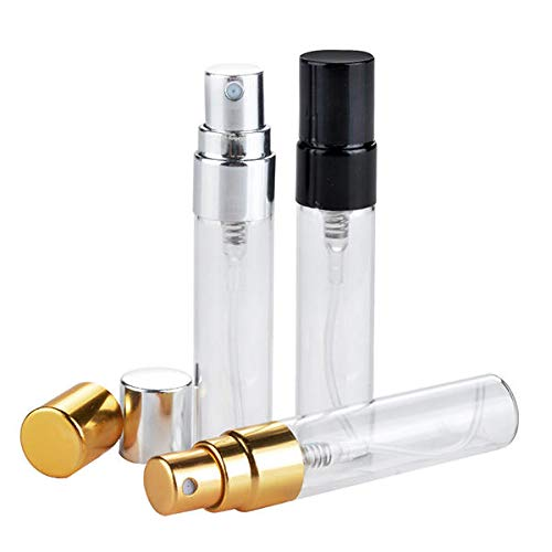 Delighted 5ml Empty Glass Perfume Bottles Refillable Aluminum Atomizer Portable Container - Gold