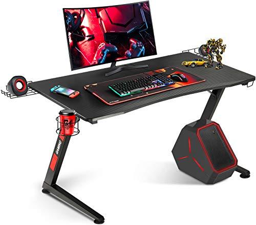 GTRACING ゲーミングデスク パソコンデスク ゲームデスク ゲーマーに向け 幅 108 cm×奥行60cm 耐荷重80kg Z字フレーム 組立簡単 レッド (Z02-RED)