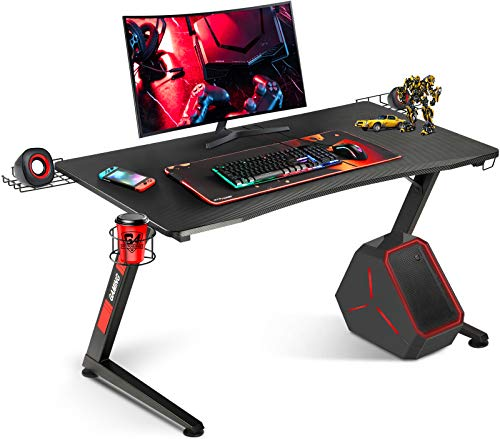 Gtracing Gaming Desk Computer Office Pc Gamer Table Racing Style Professional Game Station Z Shaped with Gaming Controller Tablet Stand and Cup Holder, Black