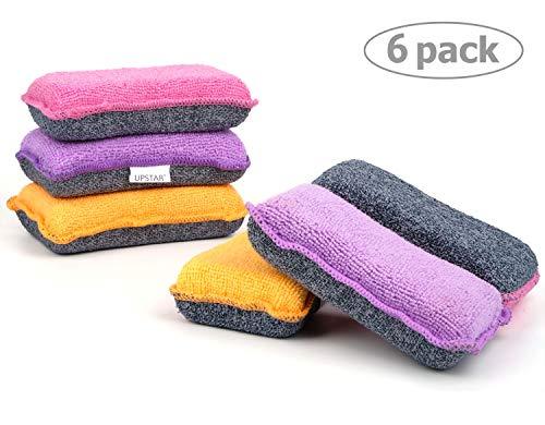UPSTAR Microfiber Scrubber Sponge, Non-Scratch Kitchen Scrubbies, Dishwashing and Bathroom Sponges,...