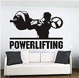 UYEDSR Stickers Muraux Powerlifting Stickers muraux Chambre décor à la Maison Motivation entraînement Gym Vinyle Stickers muraux Fitness Sport Musculation Art Mural 60x90cm