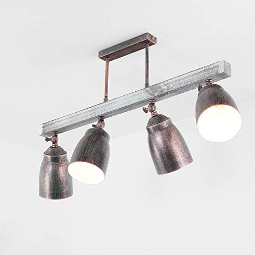 Eindrucksvolle Deckenleuchte in Shabby Weiß Schwarz Grün Patina Vintage 4x E27 bis zu 60 Watt 230V aus Metall Holz Küche Esszimmer Lampen Leuchte innen