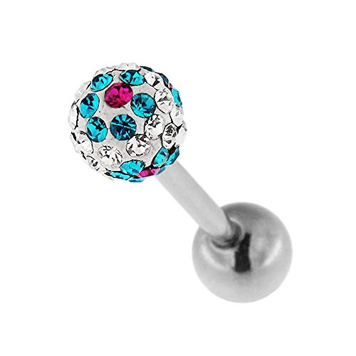Monster Piercing Bloem op Clear Multi Crystal Steenbal 14 gauge chirurgisch staal Barbell tong bar sieraden