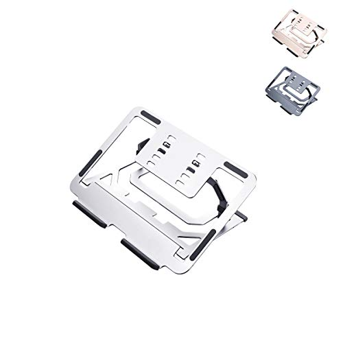 Laptop Stand, Ergonomic Aluminum Computer Stand for Desk, Adjustable and Heat-Vent,Compatible for all 10-15.6' Laptops including MacBook Air/Pro, Dell, HP,Samsung, Lenovo(Elegant silver)